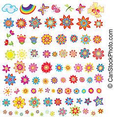 été, fleurs, ensemble