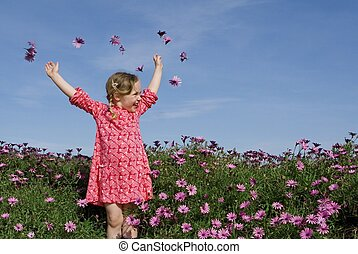été, fleurs, heureux, enfant