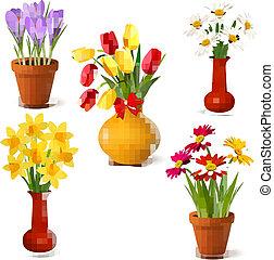 été, fleurs ressort, coloré