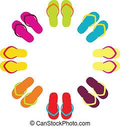 été, flipflops, coloré, isolé, cercle, blanc