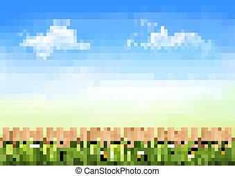 été, fond, barrière, nature, bois, vert, vector., herbe