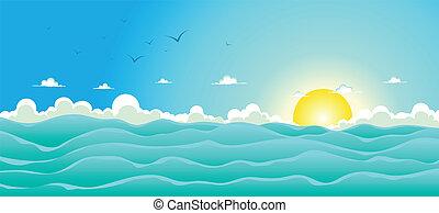 été, fond, océan