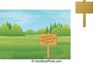 été, forêt, signe bois
