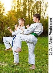 été, formation, karaté, garçons, kimono, dehors, exercices, pendant, blanc