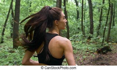 été, formation, sportif, athlétique, printemps, feuilles, jeune, longs cheveux, lotissements, forêt verte, path., saison, pendant, girl, baissé