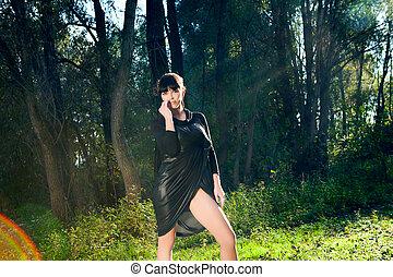 été, girl, forêt, marche