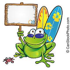 été, grenouille, heureux