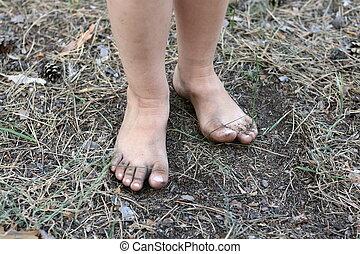 été, gros plan, chaussures, sans, enfant, jambes, terrestre