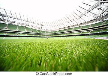 été, herbe, stade, green-cut, foyer peu profond, grand, profondeur, champ, jour, football