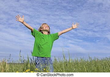 été, heureux, bras tendus, enfant