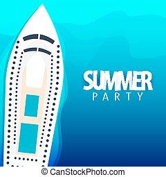 été, illustration., affiche, paquebot, travel., vecteur, mer, croisière, fête, template.