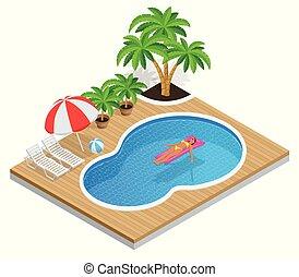 été, isométrique, apprécier, pool., eau, concept., parc, vacances, illustration, isolé, eau, bikini, femme, bronzage, fond, blanc, matelas, gonflable, natation