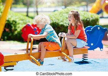 été, jeu, gosses, park., playground., enfants