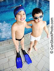 été, jouer, natation, bonheur, activités, eau, piscine, enfants