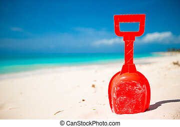 été, jouet, gosse, sable, plage blanche