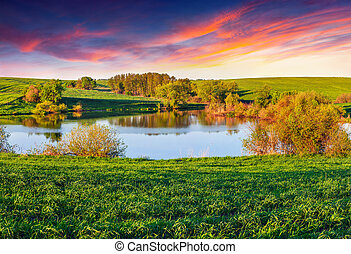 été, lac, coloré, matin