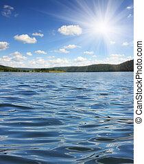 été, lac, vagues