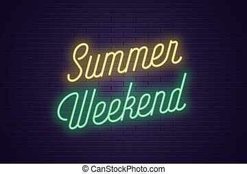 été, lettrage, texte, néon, incandescent, weekend.
