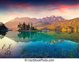 été, levers de soleil, lac, coloré, eibsee