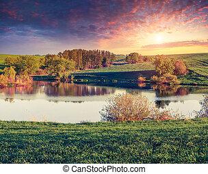 été, levers de soleil, lac, coloré