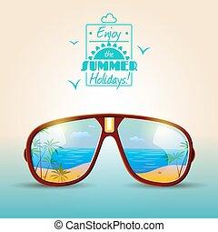 été, lunettes soleil, affiche