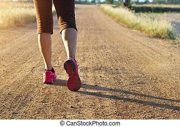 été, marche, femme, nature, piste, exercice