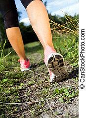 été, marche, nature, forêt, courant, activité, jambes, ou