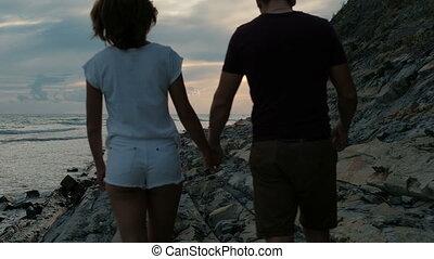 été, marche, soir, couple, jeune, côte, long, outdoor.