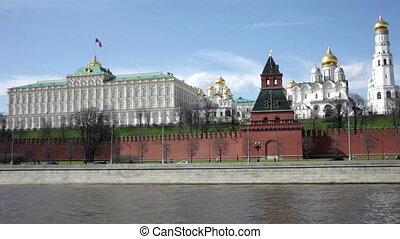 été, moscou, ensoleillé, kremlin, jour, vue