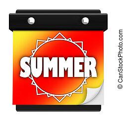 été, mur, saison, début, soleil, date, nouveau, calendrier, page