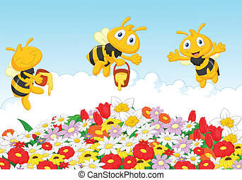 été, natura, dessin animé, abeille, mignon
