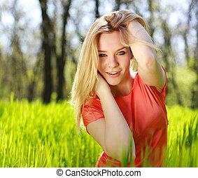 été, nature, arrière-plan vert, girl, herbe