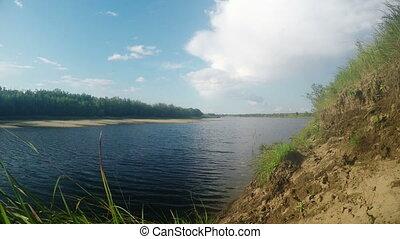 été, nature, ensoleillé, river., fond, jour