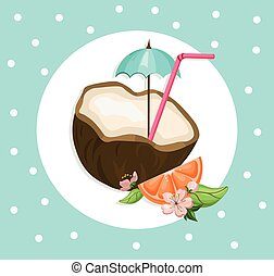 été, noix coco, cocktail, vendange, boisson, refreshment., illustration, vecteur, fond