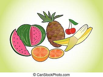 été, orange, sain, cerise, -, juteux, régime, exotique, gradient, fruit, vert, rafraîchissement, fruits, images, banane, ananas, melon, fond