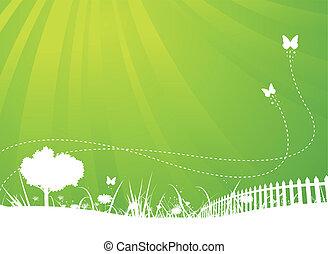 été, papillons, jardin, fond, printemps