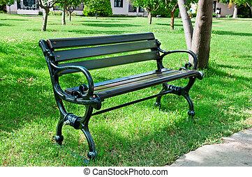 été, parc, banc jardin