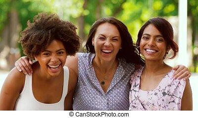 été, parc, portrait, femmes, amis, ou, heureux
