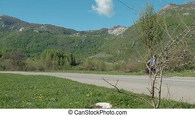 été, pays, longboard, jeune, équitation, outdoors., jour, route, homme