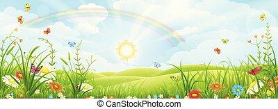 été, paysage, arc-en-ciel
