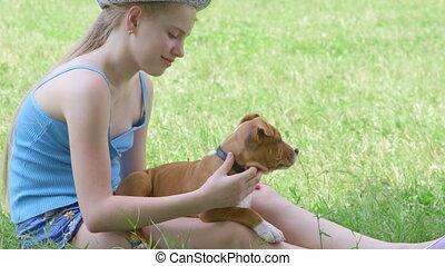 été, pelouse, chien, vert, enfant, chiot, jour
