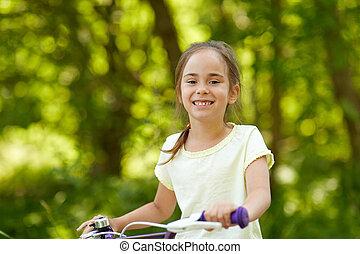 été, peu, vélo, girl, heureux