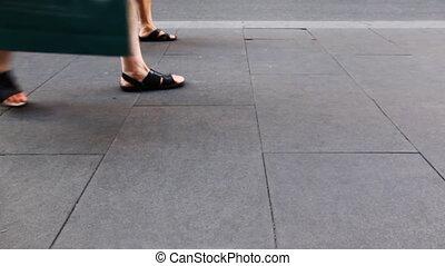 été, pierre, chaussures, trottoir, gens, aller, jambes, dalles