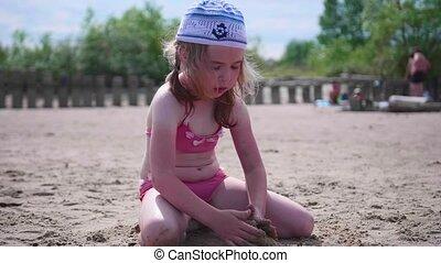 été, plage., mood., ensoleillé, sable, jour, bon, enfant joue