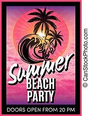 été, plage, retro, fête, affiche