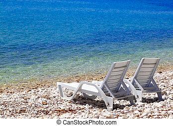 été, pont préside, ensoleillé, deux, plage, jour