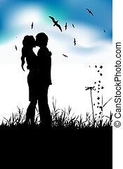 été, pré, silhouette, couple, noir, baisers
