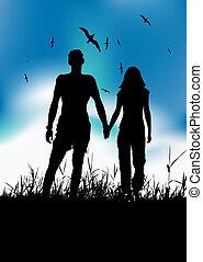 été, pré, silhouette, marche couples, noir