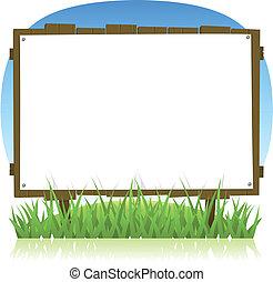été, printemps, bois, pays, panneau affichage, ou