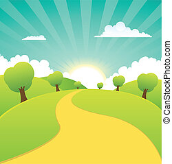 été, printemps, rural, saisons, ou, paysage